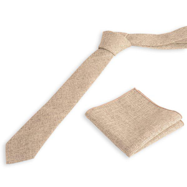 Chic Blend Linen Grain Handkerchief Neck Tie Set