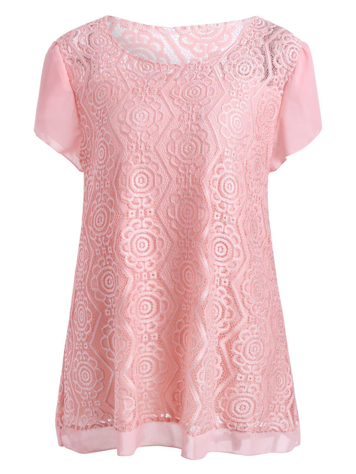 Plus Size Scoop Neck Long Lace BlouseWOMEN<br><br>Size: 5XL; Color: PINK; Material: Cotton Blends,Lace,Polyester; Shirt Length: Long; Sleeve Length: Short; Collar: Scoop Neck; Style: Fashion; Season: Spring,Summer; Pattern Type: Solid; Weight: 0.2500kg; Package Contents: 1 x Blouse;