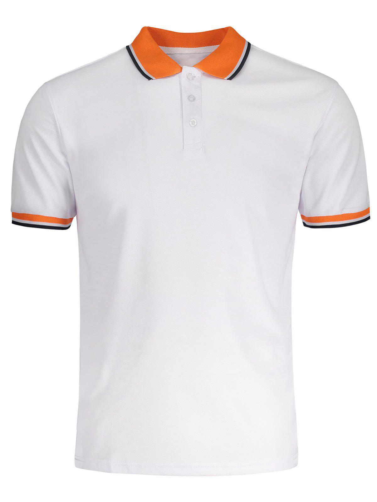 Affordable Color Block Short Sleeves Polo Shirt
