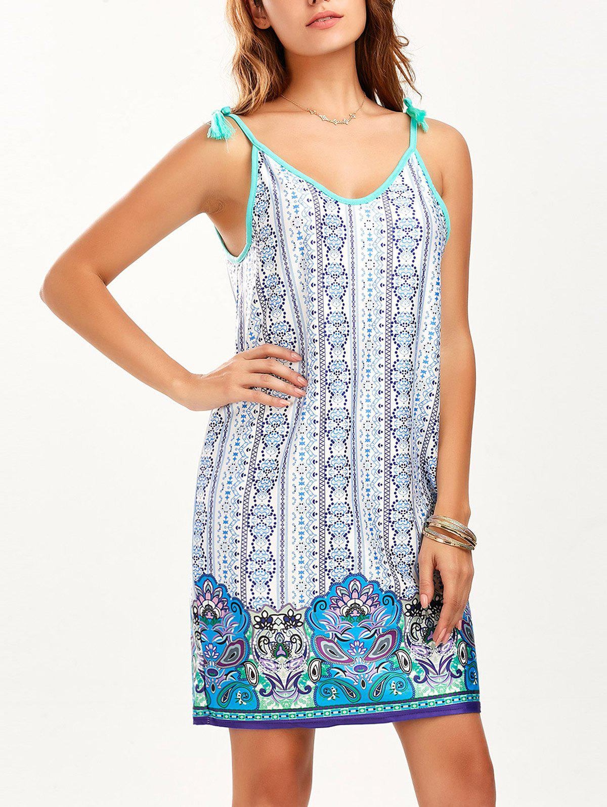 Chic Tassel Mini Printed Summer Dress