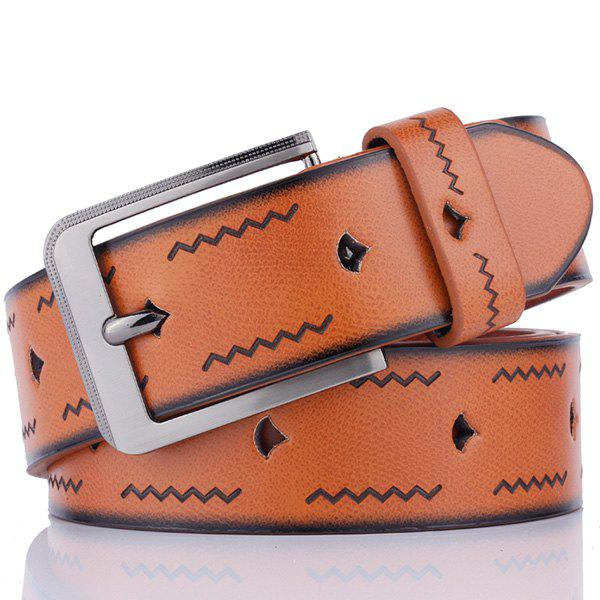 Best Faux Leather Pin Buckle Wavy Line Embossed Belt
