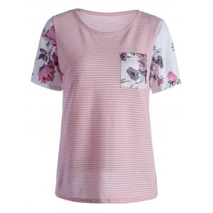 Casual Floral Pocket Short Sleeve Striped T-Shirt - Pink - Xl