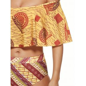 Off-The-Shoulder High Waisted Tribal Bikini Set -