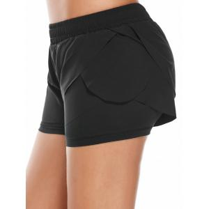 Elastic Waist Layered Gym Running Shorts -