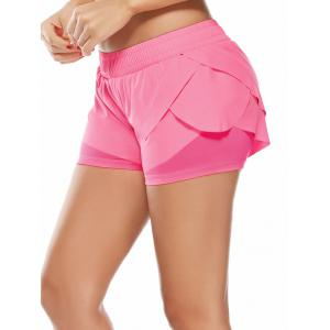 Elastic Waist Layered Gym Running Shorts