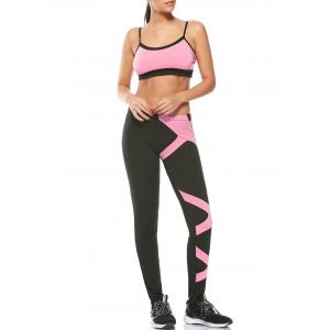 Sports Padded Bra and Two Tone Fitness Leggings - Pink - S