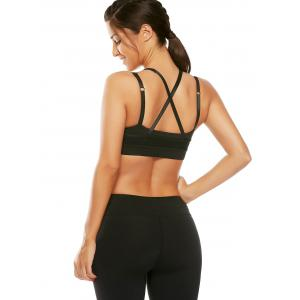 Mesh Panel Padded High Neck Workout Bra - BLACK M