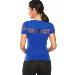 Crew Neck Fishnet Mesh Insert Running T-Shirt - BLUE L