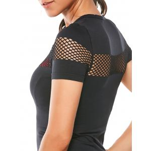 Crew Neck Fishnet Mesh Insert Running T-Shirt -