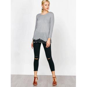 Long Sleeve Lace Trim T-Shirt -