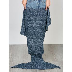 Fashion Comfortable Solid Color Handmade Wool Knitted Mermaid Design Throw Blanket - BLUE L