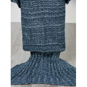 Fashion Comfortable Solid Color Handmade Wool Knitted Mermaid Design Throw Blanket - BLUE M
