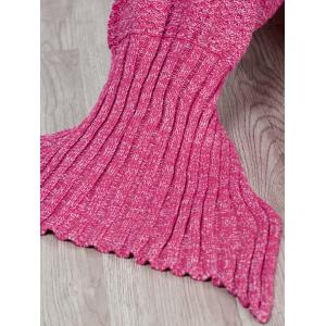 Fashion Comfortable Solid Color Handmade Wool Knitted Mermaid Design Throw Blanket - ROSE M
