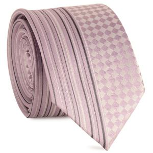 Straight Stripe Tiny Plaid Mulberry Silk Tie - Pinkish Purple