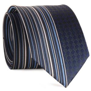 Straight Stripe Tiny Plaid Mulberry Silk Tie