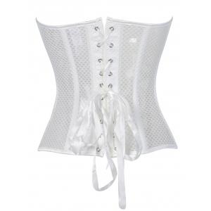 Strapless Fishnet Lace-Up Wedding Corset - WHITE S