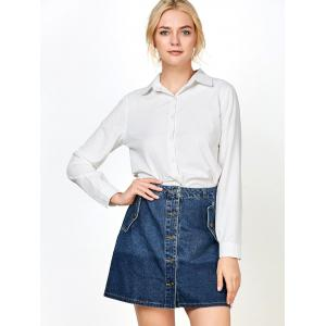 Denim Buttons Mini Ombre Skirts with Pockets - BLUE S