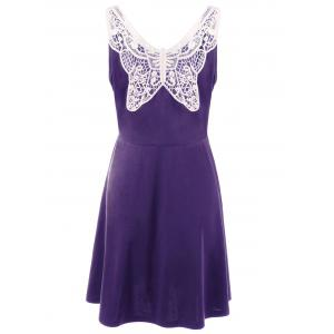 Lace Panel Plus Size A Line Skater Dress - Purple - Xl