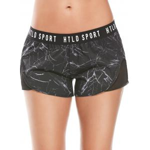 Fishnet Panel Letter Print Running Shorts -