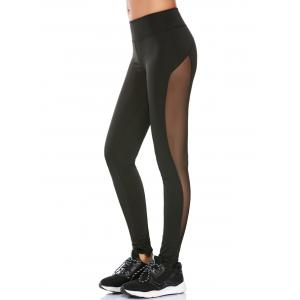 See Through Mesh Work Out Leggings - Black - L