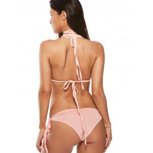 Strappy Halter Sequined String Bikini Set - PINK L