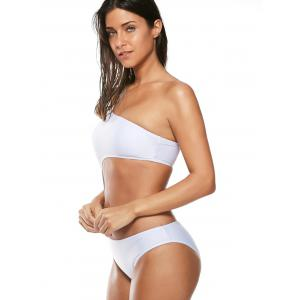 One Shoulder Cut Out One-Piece Swimsuit - WHITE S