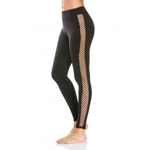 Fishnet Mesh Insert Workout Leggings - Black - M