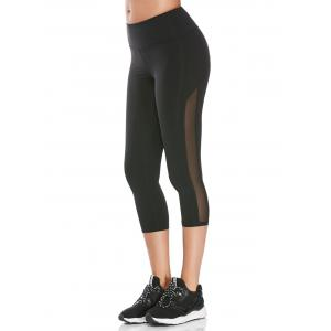 Mesh Insert Cropped Athletic Leggings - Black - L