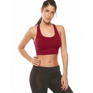 Cutout Padded Cropped Sports Racerback Bra -
