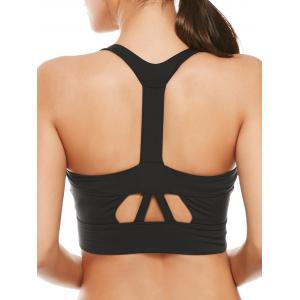 Cutout Padded Cropped Sports Racerback Bra - Black - S