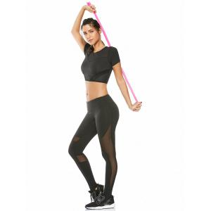 Mesh Panel Running Gym Cropped T-Shirt - BLACK S