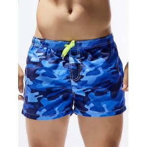Camouflage Print Drawstring Hawaiian Board Shorts - Blue - S