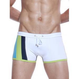 Color Block Panel Design Drawstring Swimming Trunks