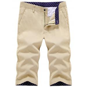 Button Pocket Zip Fly Bermuda Shorts