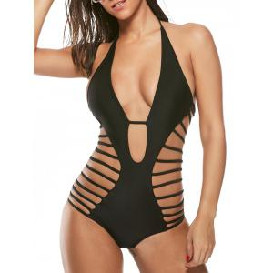 Halter Cut Out Strappy Swimsuit