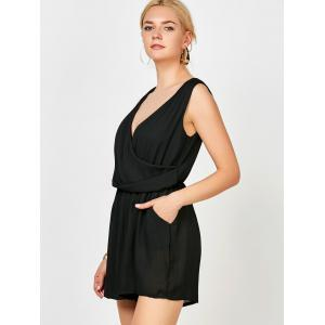 Sleeveless Surplice Ruched Romper with Pockets - BLACK S