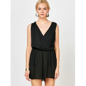 Sleeveless Surplice Ruched Romper with Pockets - BLACK L