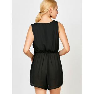 Sleeveless Surplice Ruched Romper with Pockets - BLACK XL