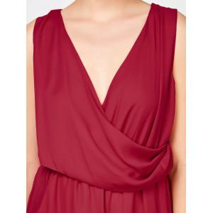 Sleeveless Surplice Ruched Romper with Pockets - RED XL