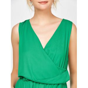 Sleeveless Surplice Ruched Romper with Pockets - GREEN XL