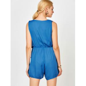 Sleeveless Surplice Ruched Romper with Pockets - BLUE XL