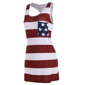Sleeveless Racerback Bowknot American Flag Patriotic T Shirt Dress - DEEP RED S