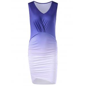 V Neck Bodycon Ombre Dress - Xl