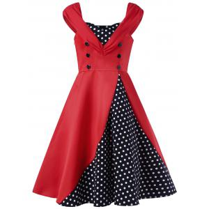 Buttoned Polka Dot Vintage Dress - Red - 2xl
