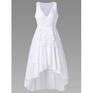 Chiffon High Low Tea Length Wedding Guest Dress - White - 2xl