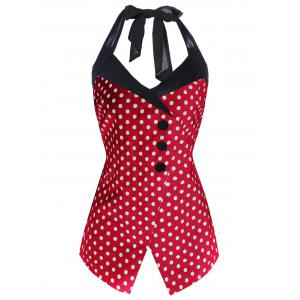 Polka Dot Plus Size Retro Halter Dressy Top - Red - Xl