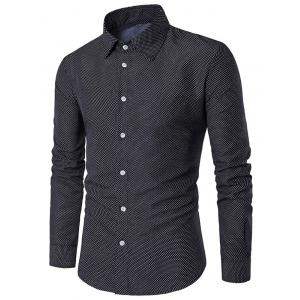 Button Cuff Polka Dot Long Sleeve Shirt