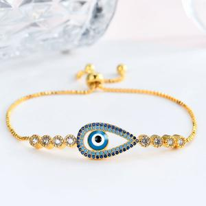 Rhinestoned Devil Eye Box Chain Bracelet