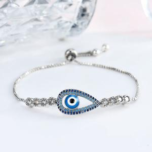 Rhinestoned Devil Eye Box Chain Bracelet - Silver - 8