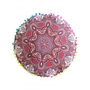 Mandala Print Round Throw Cover Pouf Pillowcase - Red - Diameter: 45cm
